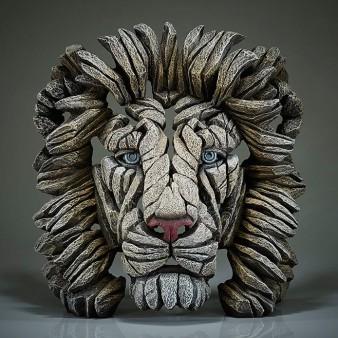 Edge Sculpture Lion Bust - White