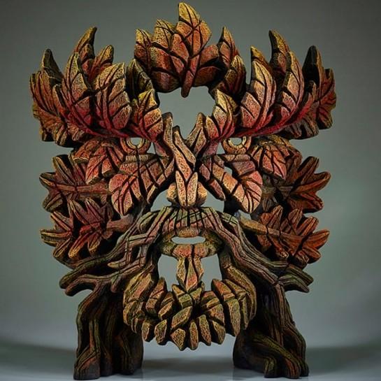 Edge Sculpture Green Man Bust - Autumn Flame