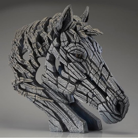 Edge Sculpture Horse Bust - White
