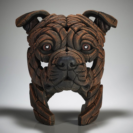 Edge Sculpture Staffordshire Bull Terrier Bust (Brindle)