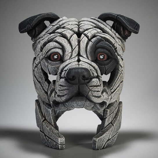 Edge Sculpture Staffordshire Bull Terrier Bust (White Patch)