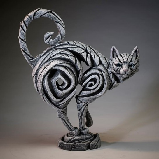 Edge Sculpture Standing Cat - White