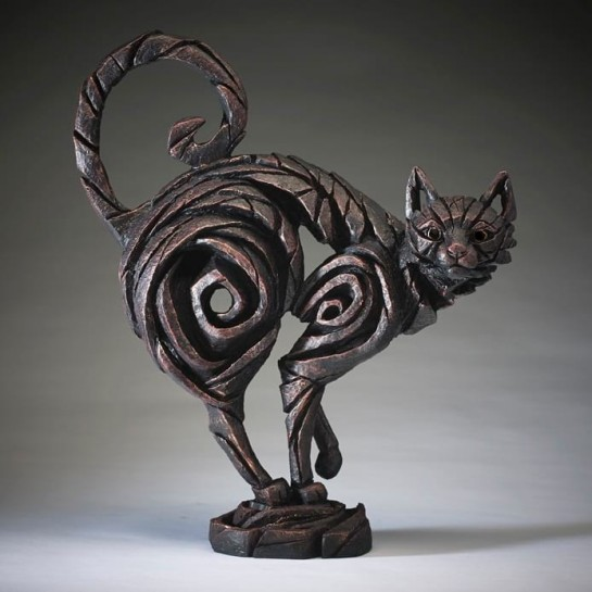 Edge Sculpture Standing Cat - Black