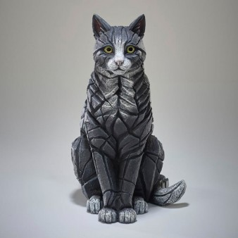 Edge Sculpture Sitting Cat - Black and White