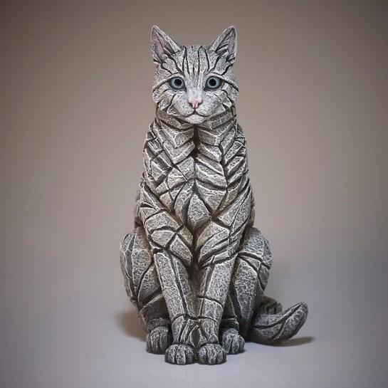 Edge Sculpture Sitting Cat - White
