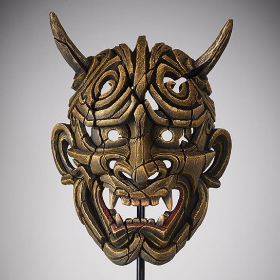 Edge Sculpture Japanese Hannya Mask - Netsuke Gold