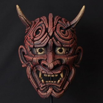 Edge Sculpture Japanese Hannya Mask - Antique Red