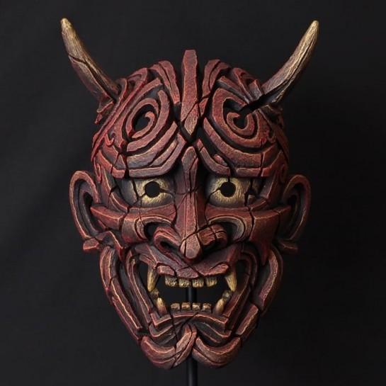 Edge Sculpture Japanese Hannya Mask - Antique Red