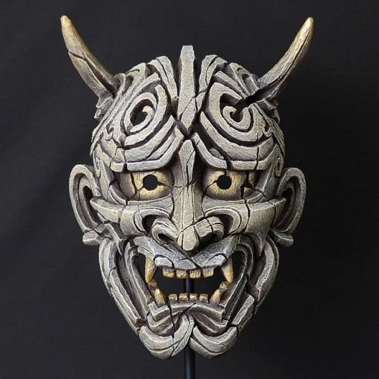 Edge Sculpture Japanese Hannya Mask - Antique White