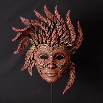 Edge Sculpture Venetian Carnival Mask - Venetian Red