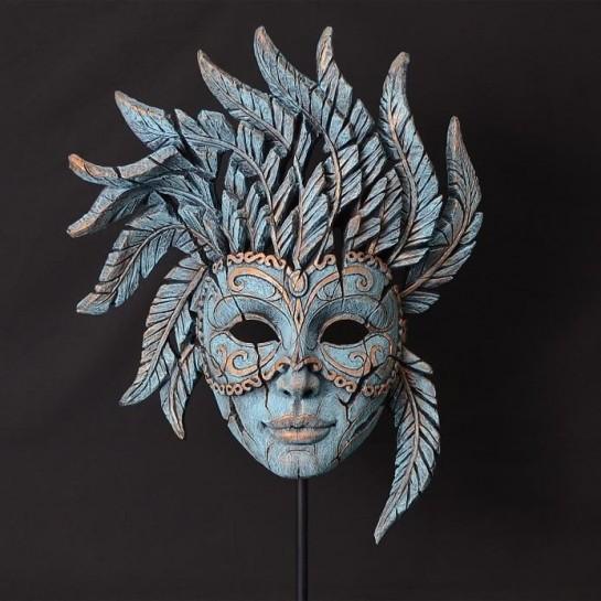 Edge Sculpture Venetian Carnival Mask - Teal