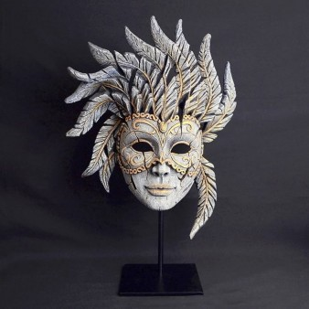 Edge Venetian Carnival Mask - Antique White