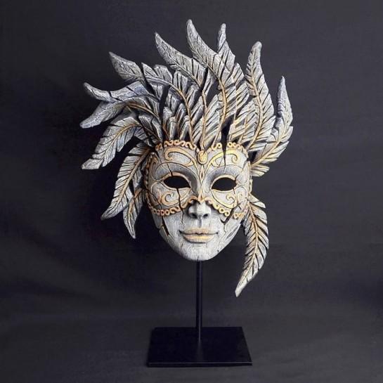 Edge Venetian Carnival Mask - Antique White