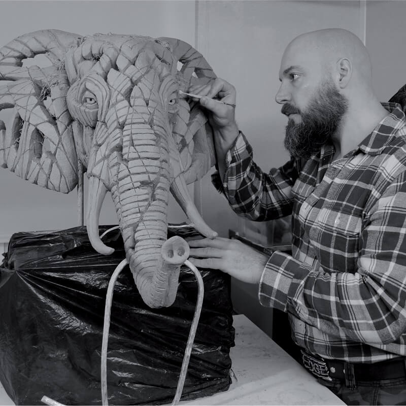 Matt Sculpting African Elephant Bust